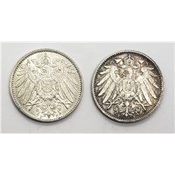 2-High Grade 1915 A 1 Mark Silver Coin