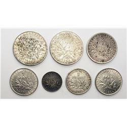 7-SILVER FRANCE COINS: 2-1960 5 FRANCS