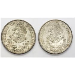2-1953 MEXICO SILVER 5 PESOS