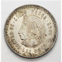 1948 MEXICO 5 PESOS SILVER COIN