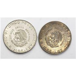 2-MEXICO SILVER CINCO PESOS COINS