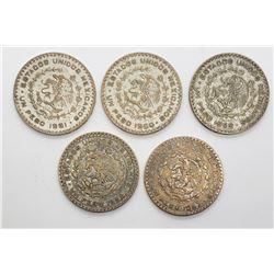 5-MEXICO SILVER UN PESOS COINS