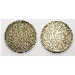 1942 & 1943 INDIA ONE RUPEE SILVER COINS