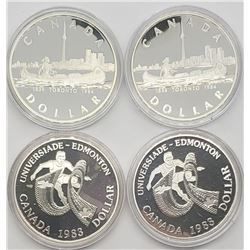 2-1983, 2-1984 PROOF SILVER CANADA DOLLARS