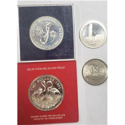 4-SILVER COINS: 1971 Bahama $2 Sterling Flamingo C
