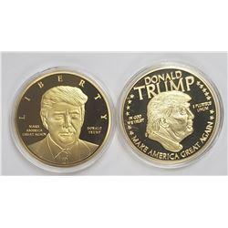2-DONALD TRUMP PROOF 24k GOLD PLTD COINS