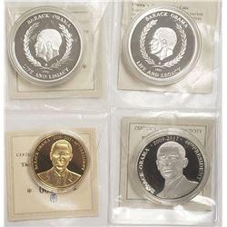 4-BARACK OBAMA COINS (1) GOLD PLTD