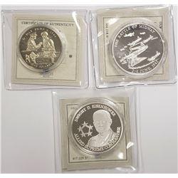 3-WORLD WAR II COMMEM COINS