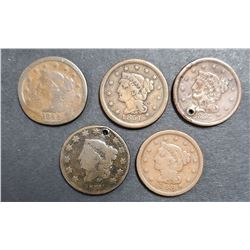 5-LARGE CENTS:  1831 1844, 1848, 1851, 1856