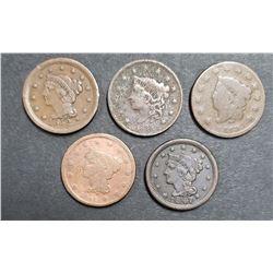 5-LARGE CENTS:  1819, 1835, 1841, 1847, 1852