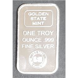 GOLDEN STATE MINT 1ozt .999 SILVER BAR