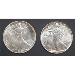 1987 & 1991 AMERICAN SILVER EAGLES