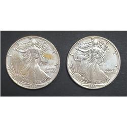 2-1991 AMERICAN SILVER EAGLES