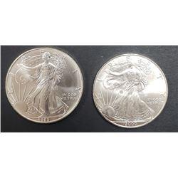 1993 & 2000 AMERICAN SILVER EAGLES