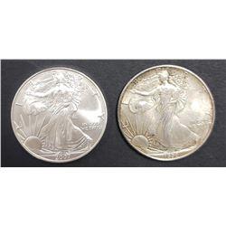 1992 & 2007 AMERICAN SILVER EAGLES