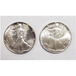 1987 & 1990 AMERICAN SILVER EAGLES