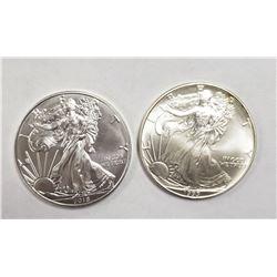 1993 & 2018 AMERICAN SILVER EAGLES