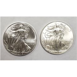 2 - 2015 American Silver Eagles 1 oz 999