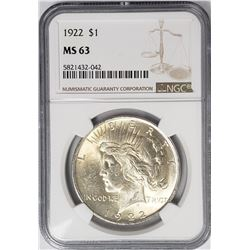 1922 Peace Silver Dollar $1 NGC MS63