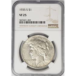 1935-S $1 Peace Silver Dollar NGC VF25
