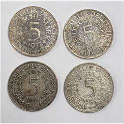 4-GERMAN 5 DEUTSCHE MARK SILVER COINS