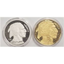 2-American Mint Coins (1) 24k Gold Plated