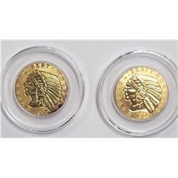 2-24k GOLD PLTD 1929 $5 INDIAN
