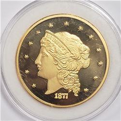 LARGE 24k GOLD PLTD 1877 $5 LIBERTY