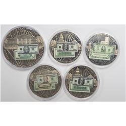 5-BANKNOTES OF THE USA COMMEM COINS