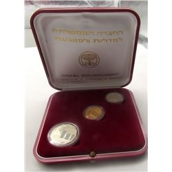 ISRAEL 1985 PROOF 3pc SET $5 GOLD & (2)SILVER