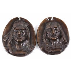 Charles M. Russell Bronze Indian Head Plaques