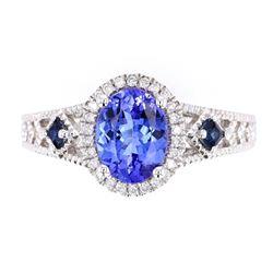 AAA Quality Tanzanite & Diamond 14K Ring