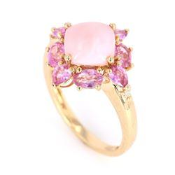Pink Opal & Pink Spinel 14K Gold Ring