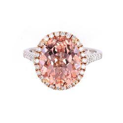 Morganite & Diamond 14K Rose and White Gold Ring