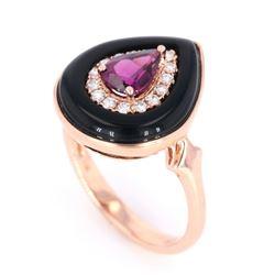 Vintage Helzberg Rhodolite & Diamond 10K Ring