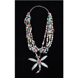Navajo Leonard Martza Dragonfly Inlaid Necklace