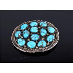 Navajo Sleeping Beauty Turquoise & Silver Pendant