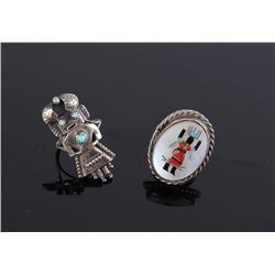Zuni Native American Indian Kachina Doll Ring Set