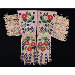 Santee Sioux Whimsical Beaded Gauntlet Gloves