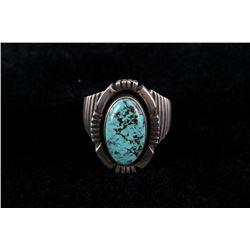 Navajo Men's Sterling Lone Mountain Turquoise Ring