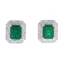 Classic 4.56ct Emerald & Diamond Platinum Earrings