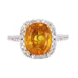 Vintage Yellow Orange Sapphire & Diamond 14K Ring