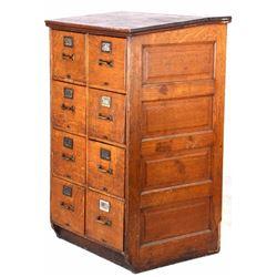 Early Industrial Quarter Sawn Oak Filing Cabinet