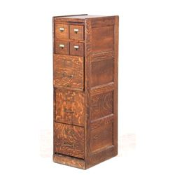 Early 1900s Seven Drawer Oak Office Filing Cabinet