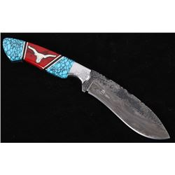 Navajo D. Yellowhorse Turquoise Longhorn Knife
