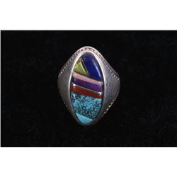 Navajo Morenci Turquoise Multi-Stone Inlaid Ring