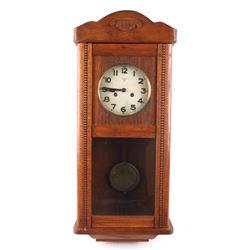 German Mauthe Oak Pendulum Wall Clock