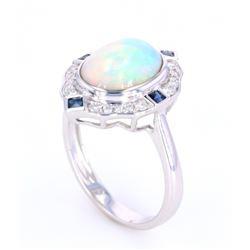Art Deco Style Opal Sapphire & Diamond 14K Ring