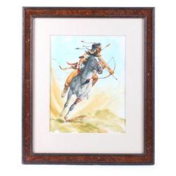 """Battle Rush"" Original Jack Hines Watercolor Paint"