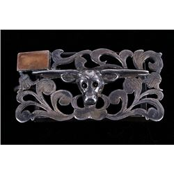 Mexico Silver Long Horn Belt Buckle